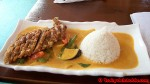 Knusprig ente - crispy duck with curried vegetables and rice