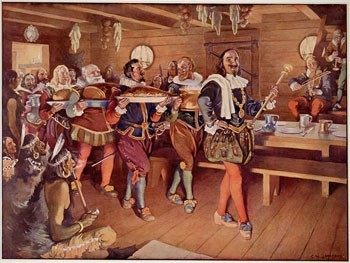 Painting of Samuel de Champlain and his Order of Good Cheer